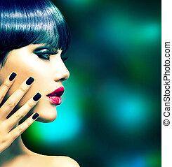 moda, mulher, perfil, portrait., voga, estilo, modelo
