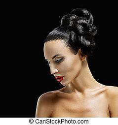 moda, mulher, perfil, retrato