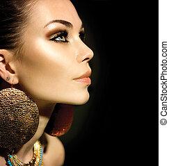 moda, mulher, perfil, retrato, isolado, ligado, pretas