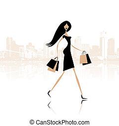 moda, niña, con, bolsas de compras, en, la ciudad, calle