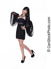 moda, niña, en, vestido negro, y, moderno, shoes, aislado, blanco