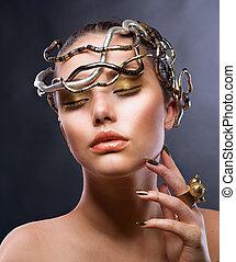 moda, niña, portrait., oro, maquillaje