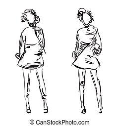 moda, niñas, bosquejo