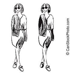 moda, niñas, sketch.