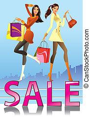 moda, niñas, venta, campaña