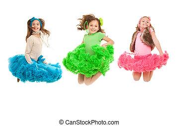 moda, niños, saltar