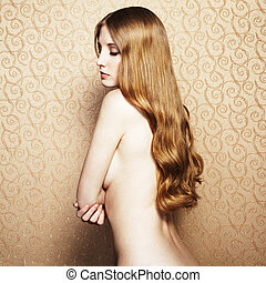 moda, nudo, capelli, elegante, donna, rosso, ritratto