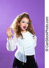 Moda, púrpura, Maquillaje, Se asustar, niña, niños, niño