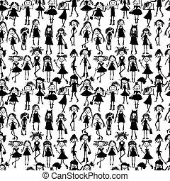 moda, padrão, seamless, meninas, desenho, seu