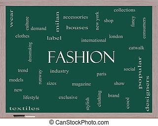 moda, palabra, nube, concepto, en, un, pizarra