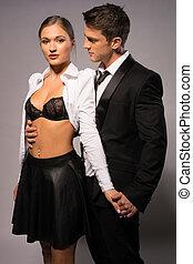 moda, pareja, joven, traje, retrato, corporativo