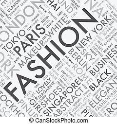 moda, parola, etichetta, nuvola, tipografia, t