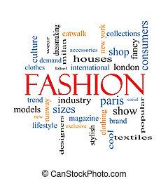 moda, parola, nuvola, concetto