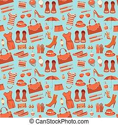 moda, patrón, con, ropa