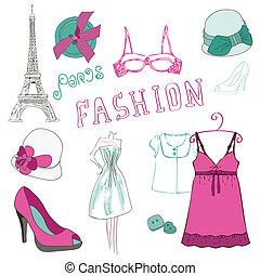 moda, pedacito, -, elementos, diseño, álbum de recortes, su