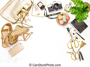 moda, plano, colocar, bloggers, social, media., femenino,...