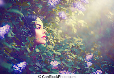 moda, primavera, modelo, niña, retrato, en, lila, flores, fantasía, jardín