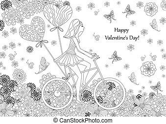 moda, ragazza, è, sentiero per cavalcate, bicicletta, per, tuo, coloritura, book., happ