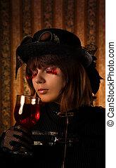 moda, ragazza, con, vetro vino