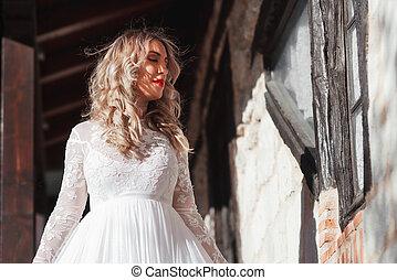 moda, ragazza fascino, sposa, donna, look., staircase., matrimonio, model., dress., sensuale, bianco