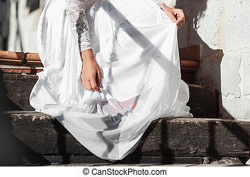 moda, ragazza fascino, sposa, donna, look., staircase., matrimonio, model., vestire, bianco