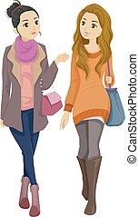 moda, ragazze adolescente, camminare