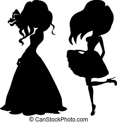 moda, ragazze, cima, modelli, silhouette