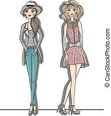 moda, ragazze, giovane, illustrazione