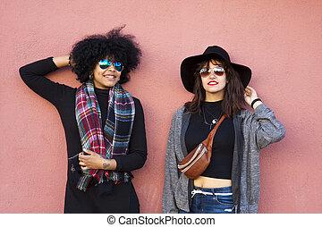 moda, ragazze, su, strada