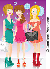 moda, ragazze, tre