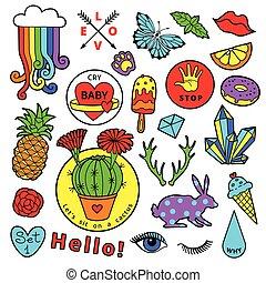 moda, remendo, emblema, elementos, em, caricatura, 80s-90s, cômico, style., jogo, modernos, tendência, doodle, arte pnf, sketch.