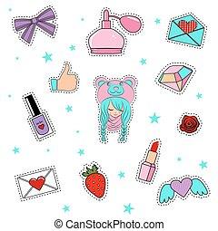 moda, remendo, emblemas, com, lábios, corações, cute, menina, e, outro, elements.