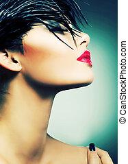 moda, retrato arte, de, bonito, girl., voga, estilo, mulher