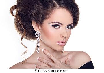 moda, retrato arte, de, bonito, girl., voga, estilo, woman., hairstyle.
