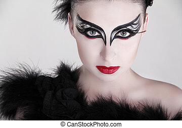 moda, retrato arte, de, hermoso, girl., moda, estilo, woman., aislado, en, gris, fondo.