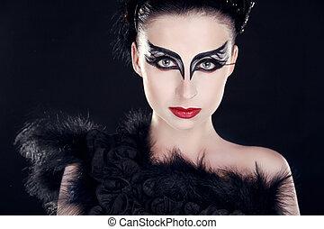 moda, retrato arte, de, hermoso, girl., moda, estilo, woman., primer plano, retrato, de, modelo, posar, encima, oscuridad, en, studio.