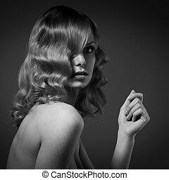 moda, retrato, de, bonito, woman., cacheados, longo, hair., bw, imagem