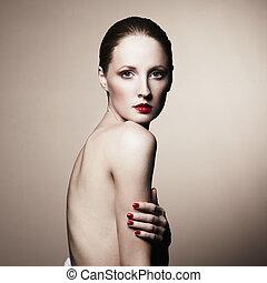 moda, retrato, de, desnudo, elegante, mujer