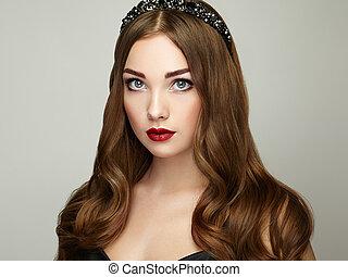 moda, retrato, de, elegante, mujer, con, magnífico, pelo