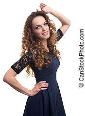 moda, retrato, de, elegante, mulher, com, cabelo ondulado