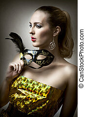 moda, retrato, de, glamour, mulher