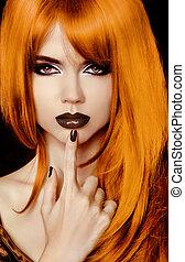 moda, retrato, de, hermoso, girl., moda, estilo, woman., hairstyle., negro, labios, y, polaco, nails.