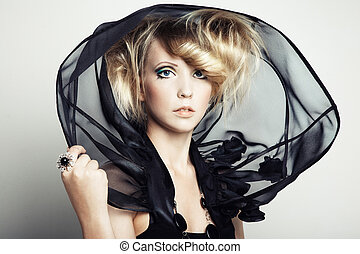 moda, retrato, de, jovem, mulher bonita
