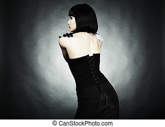 moda, retrato, de, jovem, mulher bonita, preto, vestido