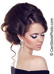 moda, retrato, de, mulher bonita, com, cabelo ondulado, e,...