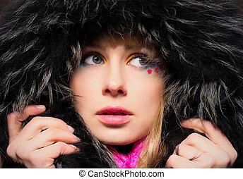 moda, retrato, de, mulher jovem