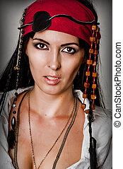 moda, retrato, de, mulher, pirata