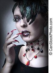 moda, retrato, de, senhora, vamp