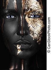 moda, retrato, de, um, escuro-esfolado, menina, com, ouro,...