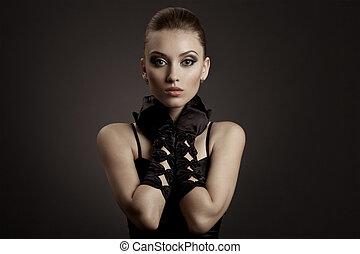 moda, retrato, de, um, mulher bonita, em, pretas, retro, luvas